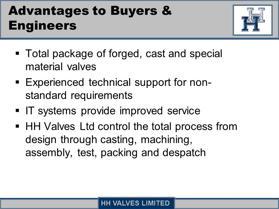 Advantages to Buyers & Engineers