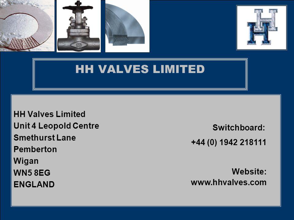 HH VALVES LIMITED HH Valves Limited Unit 4 Leopold Centre