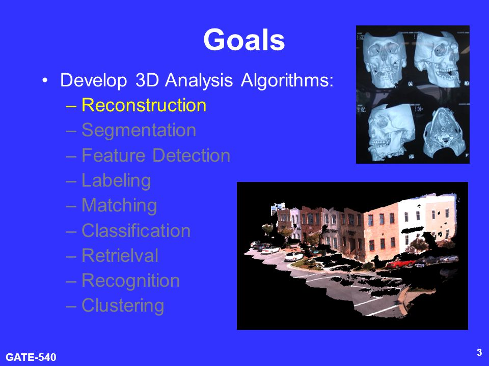 Goals Develop 3D Analysis Algorithms: Reconstruction Segmentation