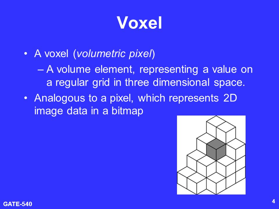 Voxel A voxel (volumetric pixel)