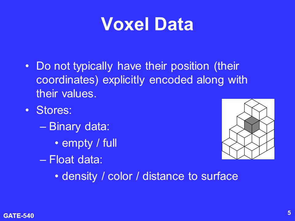 Voxel Data Do not typically have their position (their coordinates) explicitly encoded along with their values.