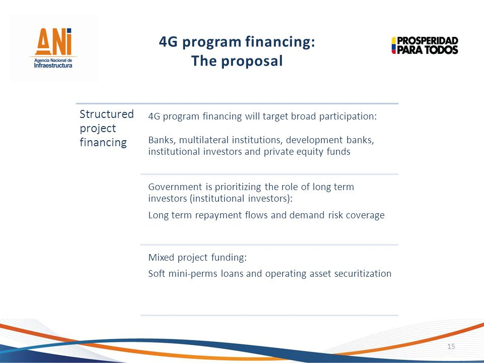 4G program financing: The proposal