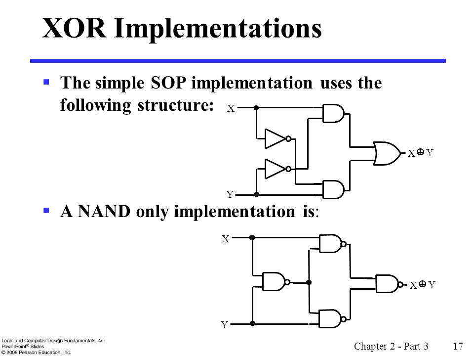 XOR Implementations The simple SOP implementation uses the following structure: A NAND only implementation is: