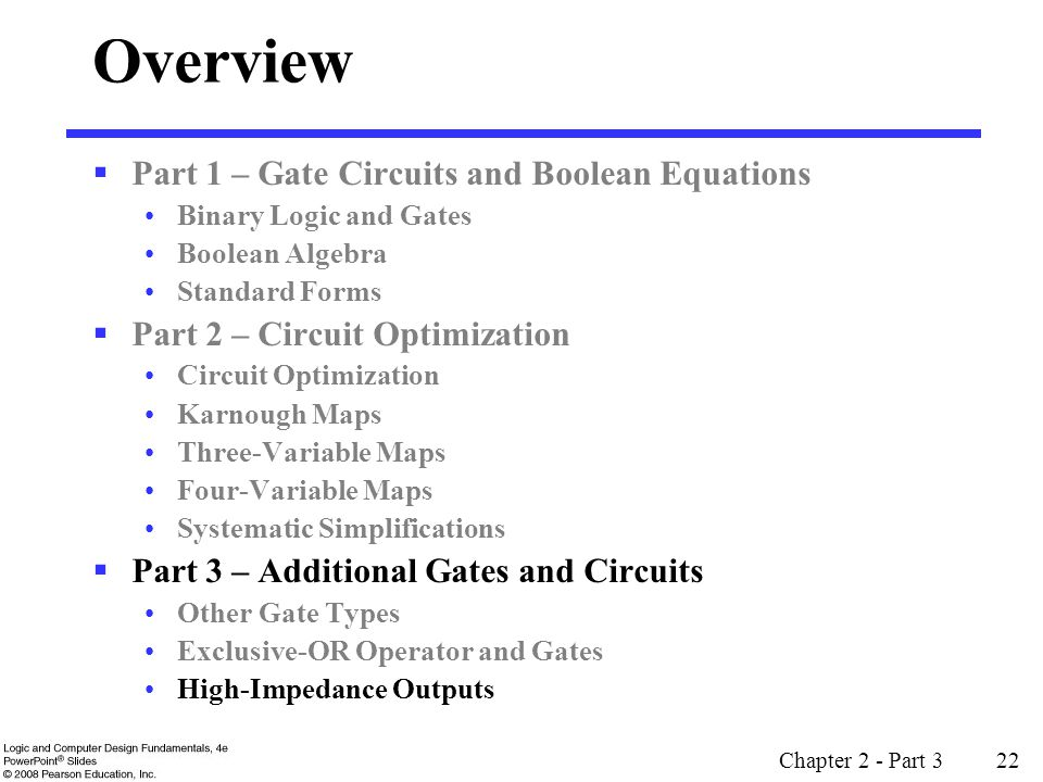 Overview Part 1 – Gate Circuits and Boolean Equations