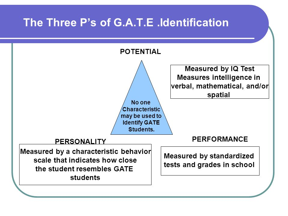 The Three P's of G.A.T.E .Identification