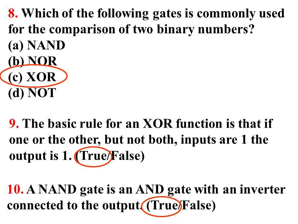 8. Which of the following gates is commonly used