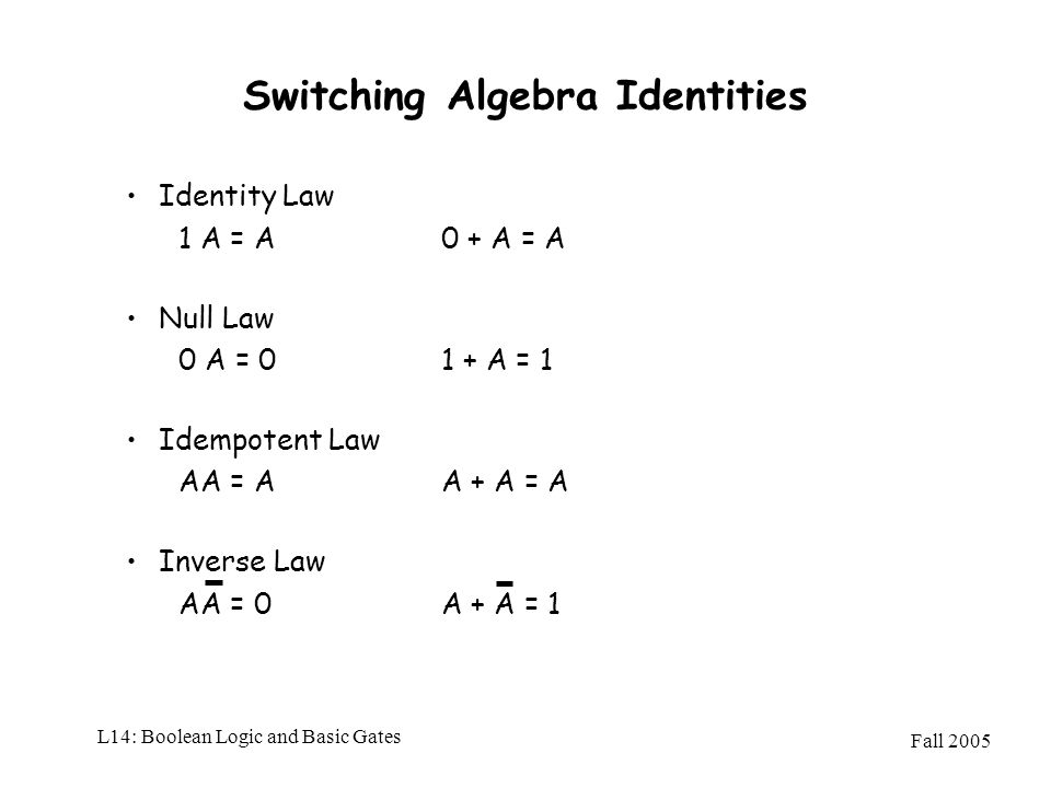 Switching Algebra Identities