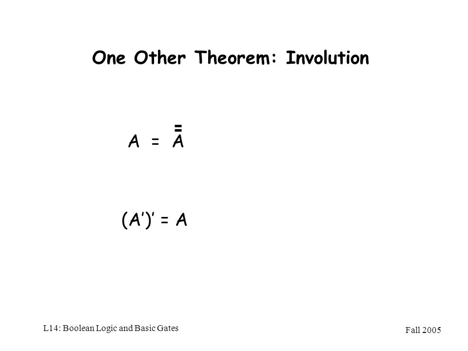 One Other Theorem: Involution