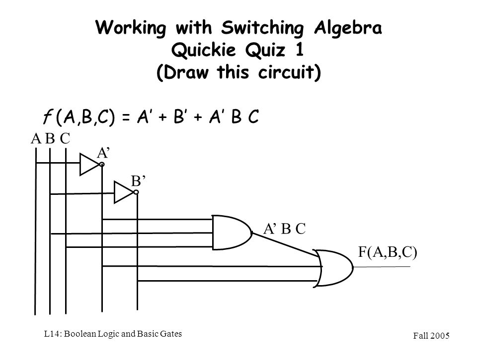 Working with Switching Algebra Quickie Quiz 1 (Draw this circuit)