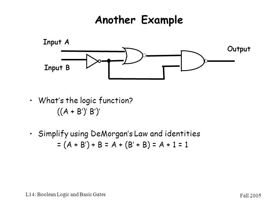 L14: Boolean Logic and Basic Gates