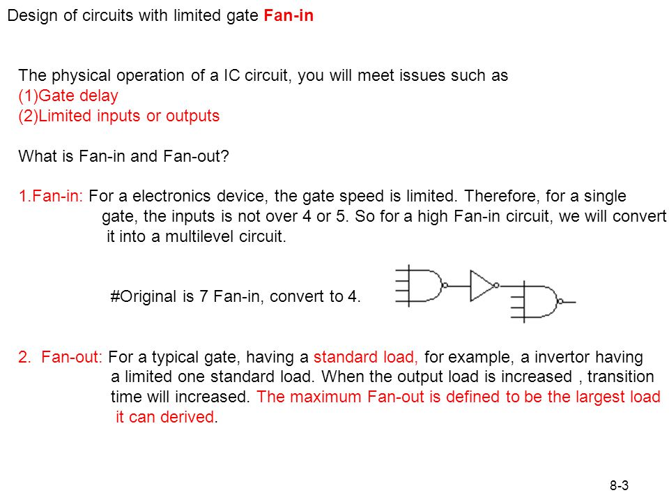 Figure 8.1 Design of circuits with limited gate fan-in Example: