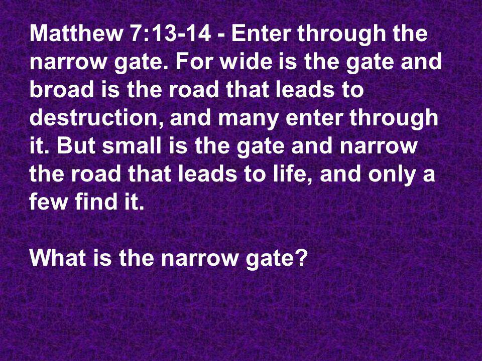 Matthew 7: Enter through the narrow gate