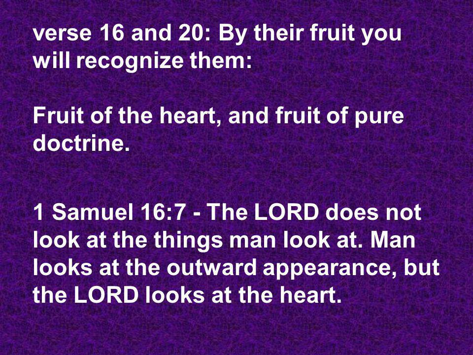 verse 16 and 20: By their fruit you will recognize them: Fruit of the heart, and fruit of pure doctrine.