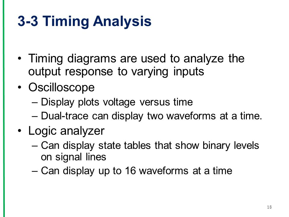 3-3 Timing Analysis Timing diagrams are used to analyze the output response to varying inputs. Oscilloscope.