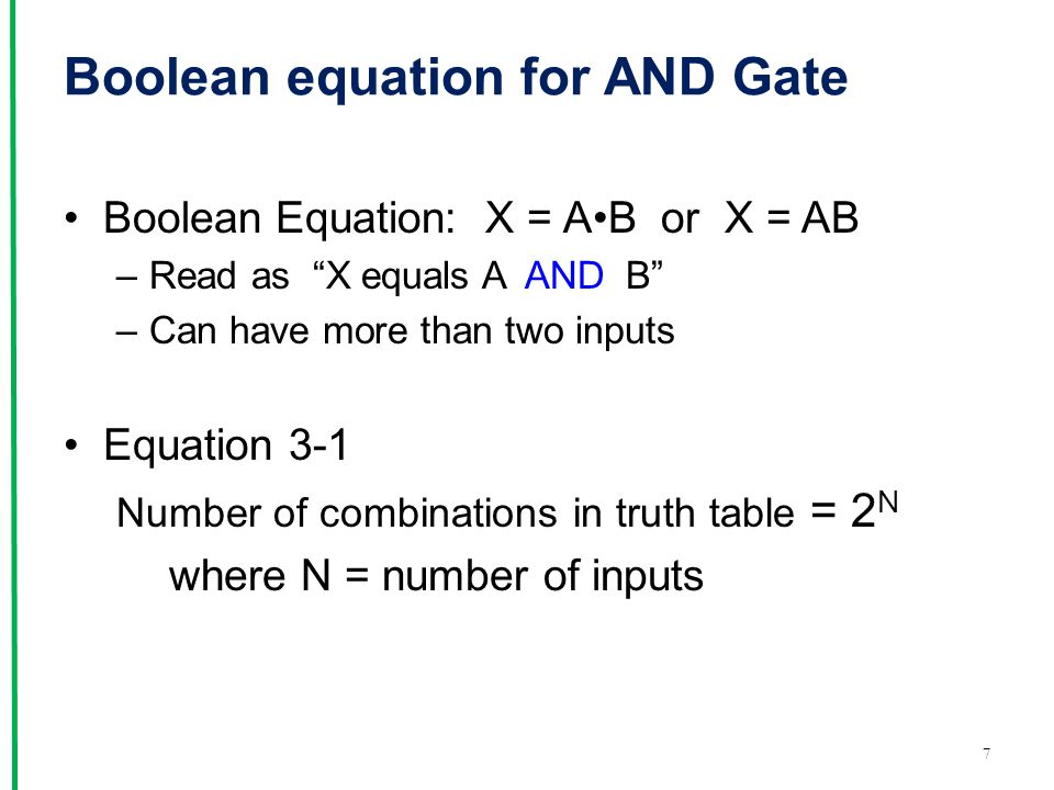 Boolean equation for AND Gate