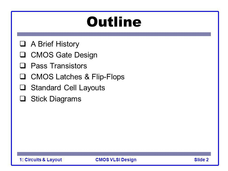Outline A Brief History CMOS Gate Design Pass Transistors