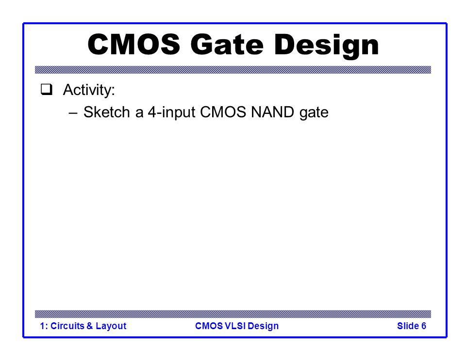 CMOS Gate Design Activity: Sketch a 4-input CMOS NAND gate