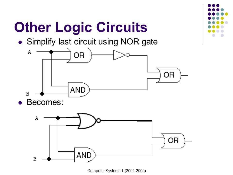 Other Logic Circuits Simplify last circuit using NOR gate Becomes:
