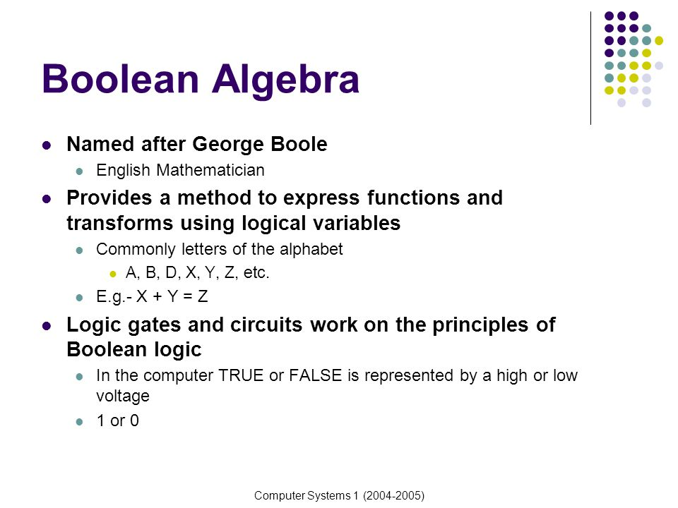 Boolean Algebra Named after George Boole