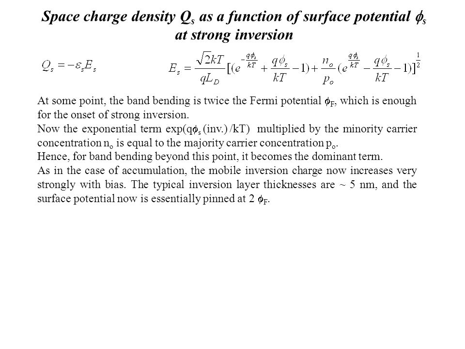 Space charge density Qs as a function of surface potential s at strong inversion