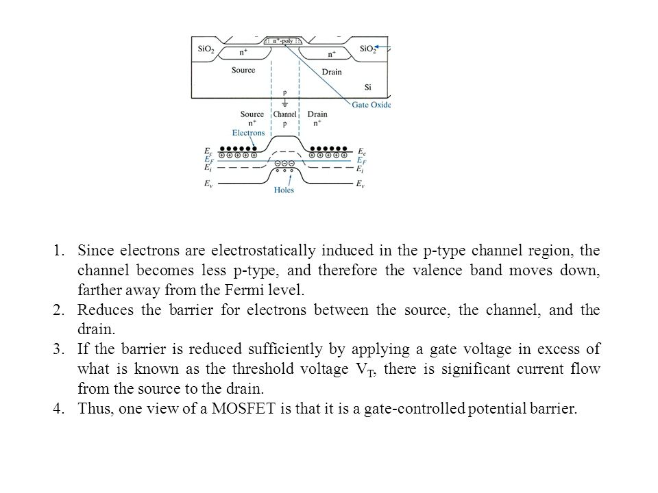 Since electrons are electrostatically induced in the p-type channel region, the channel becomes less p-type, and therefore the valence band moves down, farther away from the Fermi level.