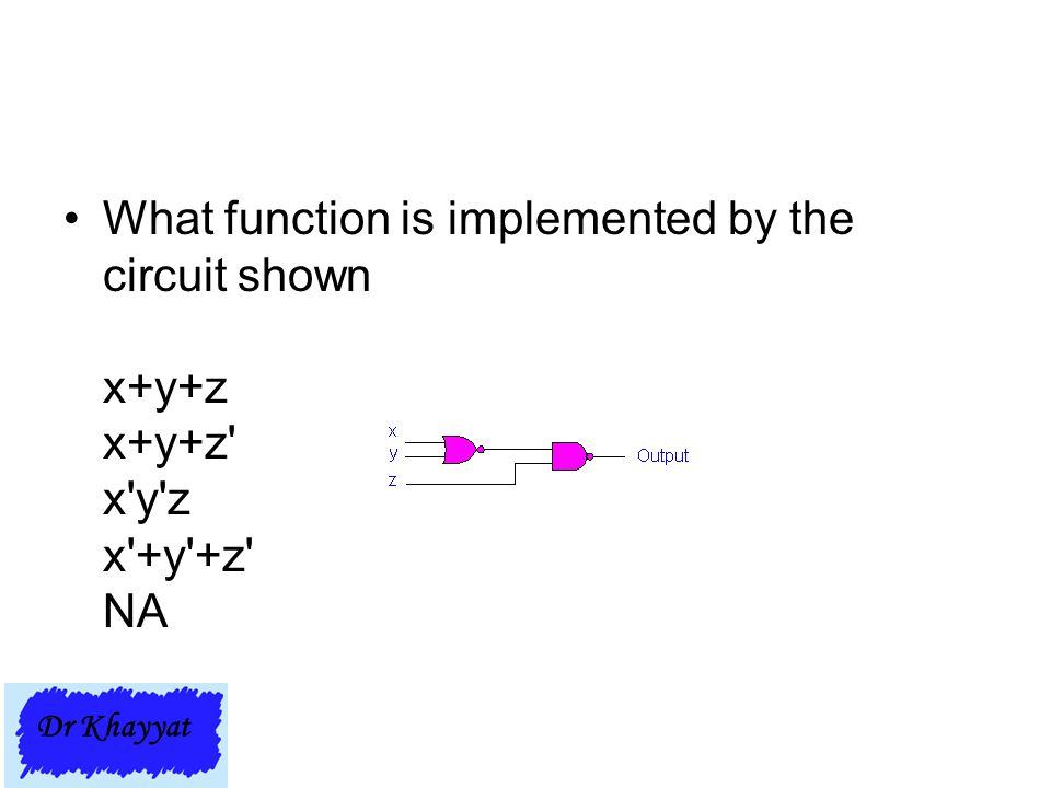 What function is implemented by the circuit shown x+y+z x+y+z x y z x +y +z NA