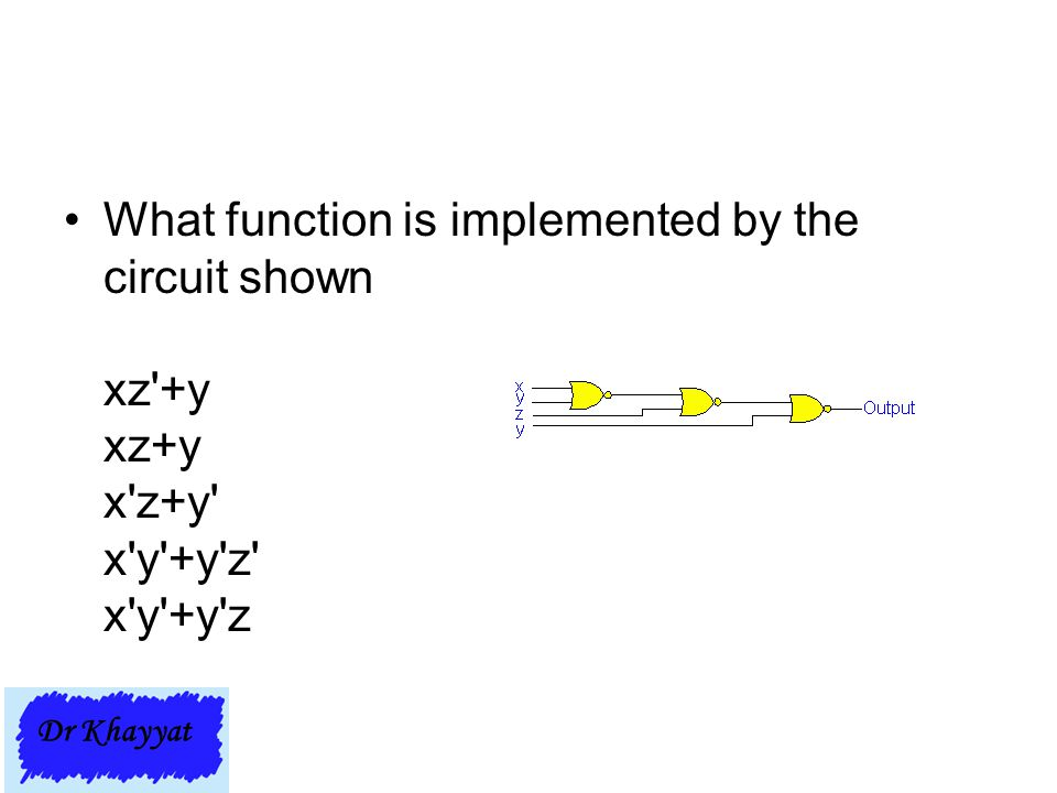 What function is implemented by the circuit shown xz +y xz+y x z+y x y +y z x y +y z