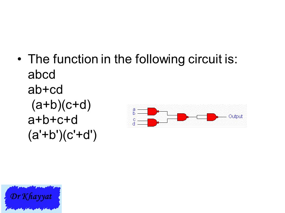 The function in the following circuit is: abcd ab+cd (a+b)(c+d) a+b+c+d (a +b )(c +d )