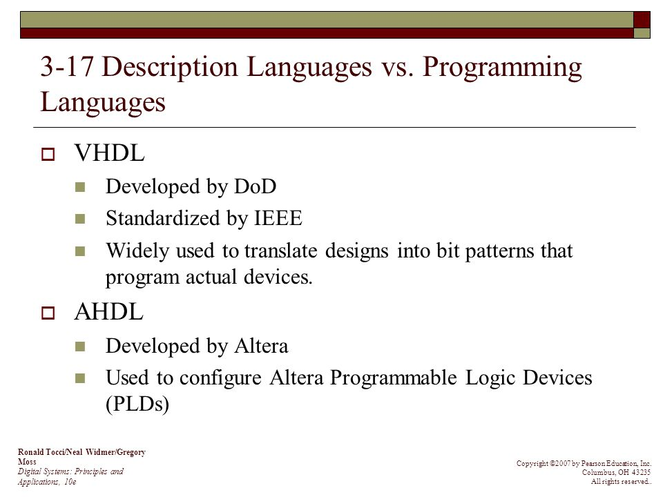 3-17 Description Languages vs. Programming Languages