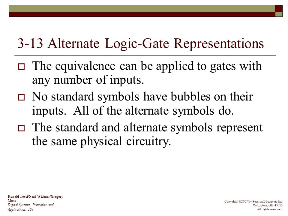 3-13 Alternate Logic-Gate Representations