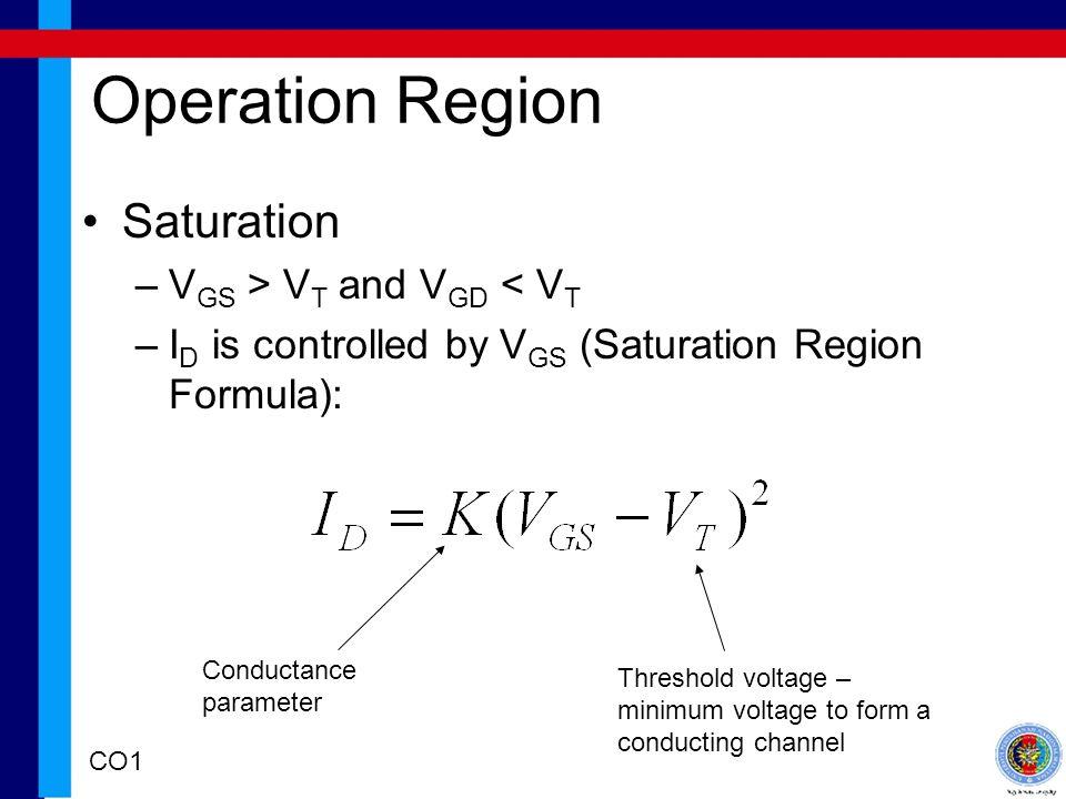 Operation Region Saturation VGS > VT and VGD < VT