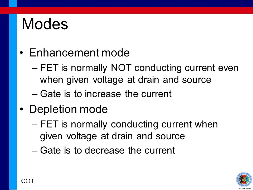 Modes Enhancement mode Depletion mode