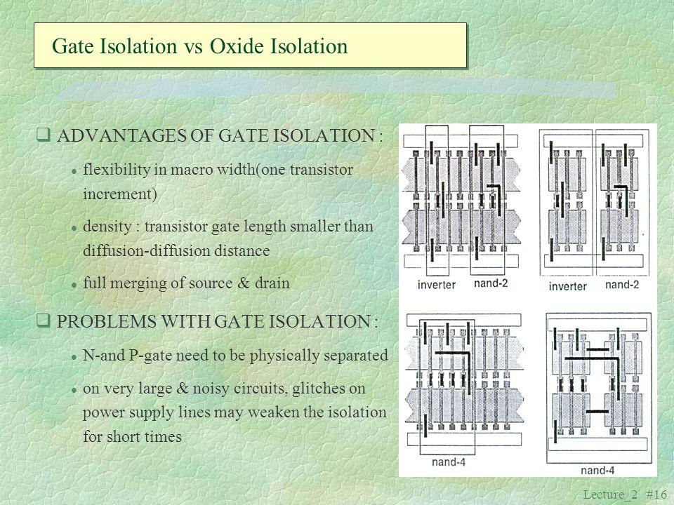 Gate Isolation vs Oxide Isolation