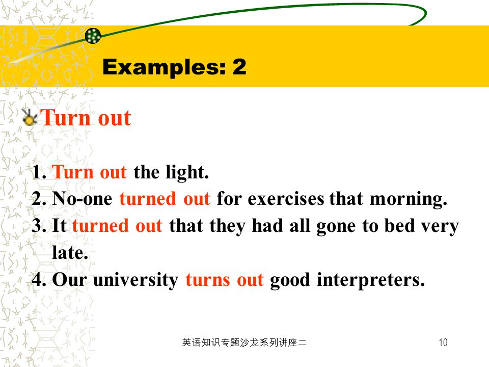 Examples: 2 Turn out 1. Turn out the light.