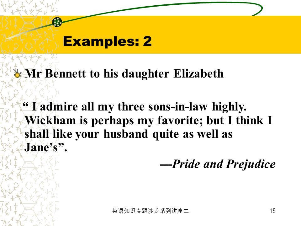 Examples: 2 Mr Bennett to his daughter Elizabeth