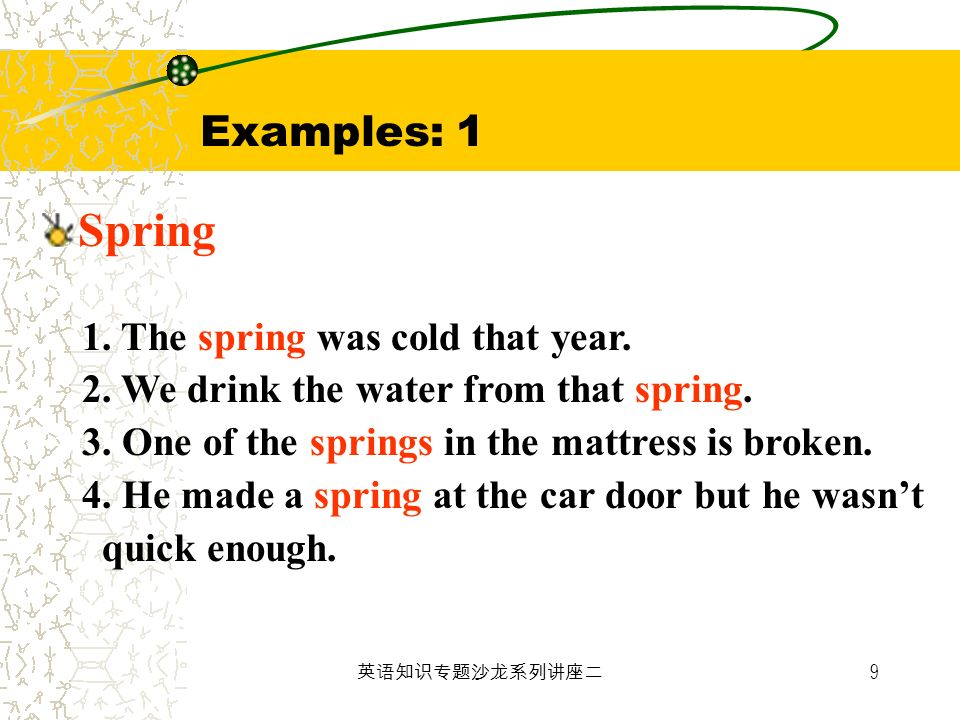 Examples: 1 Spring 1. The spring was cold that year.