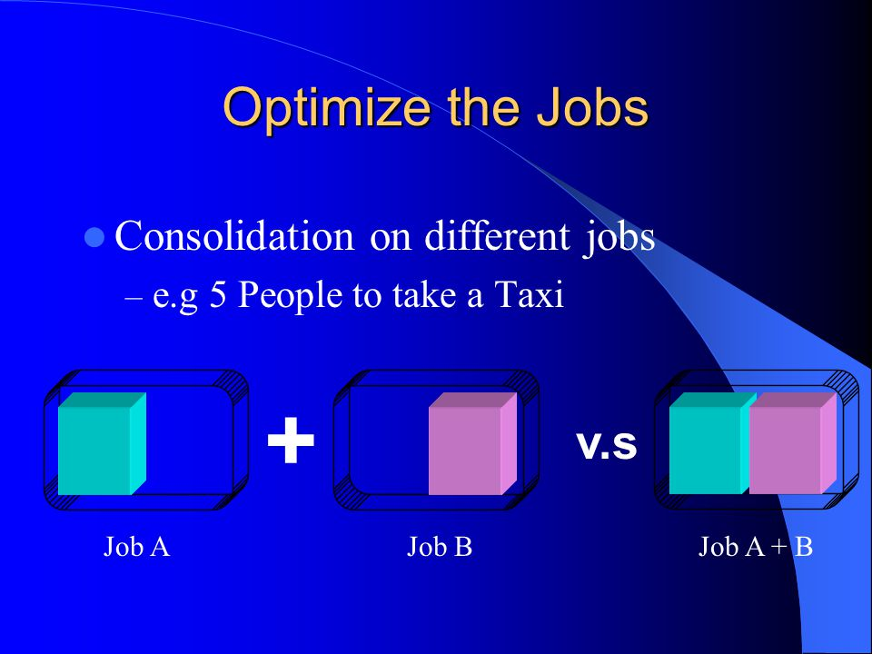+ Optimize the Jobs v.s Consolidation on different jobs