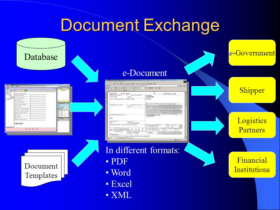 Document Exchange Database e-Document In different formats: PDF Word
