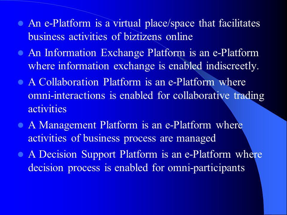 An e-Platform is a virtual place/space that facilitates business activities of biztizens online