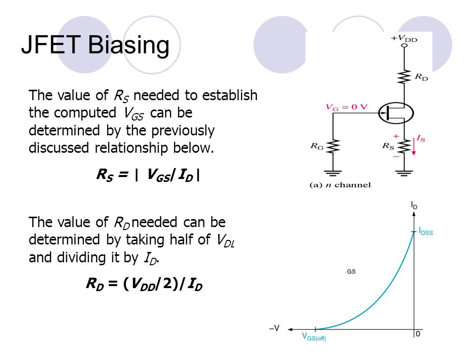 JFET Biasing The value of RS needed to establish the computed VGS can be determined by the previously discussed relationship below.