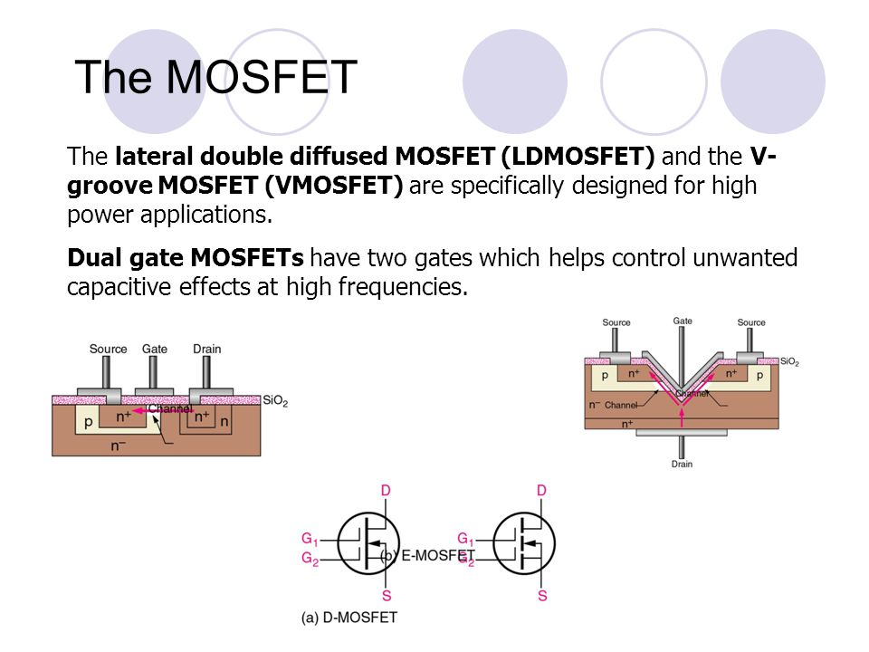 The MOSFET The lateral double diffused MOSFET (LDMOSFET) and the V-groove MOSFET (VMOSFET) are specifically designed for high power applications.