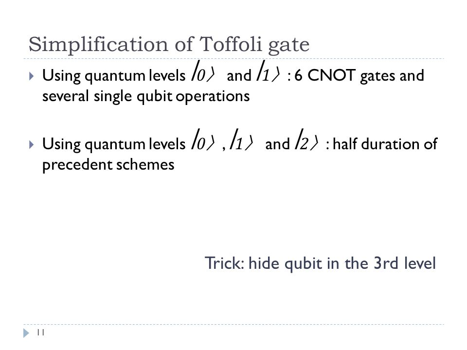 Simplification of Toffoli gate