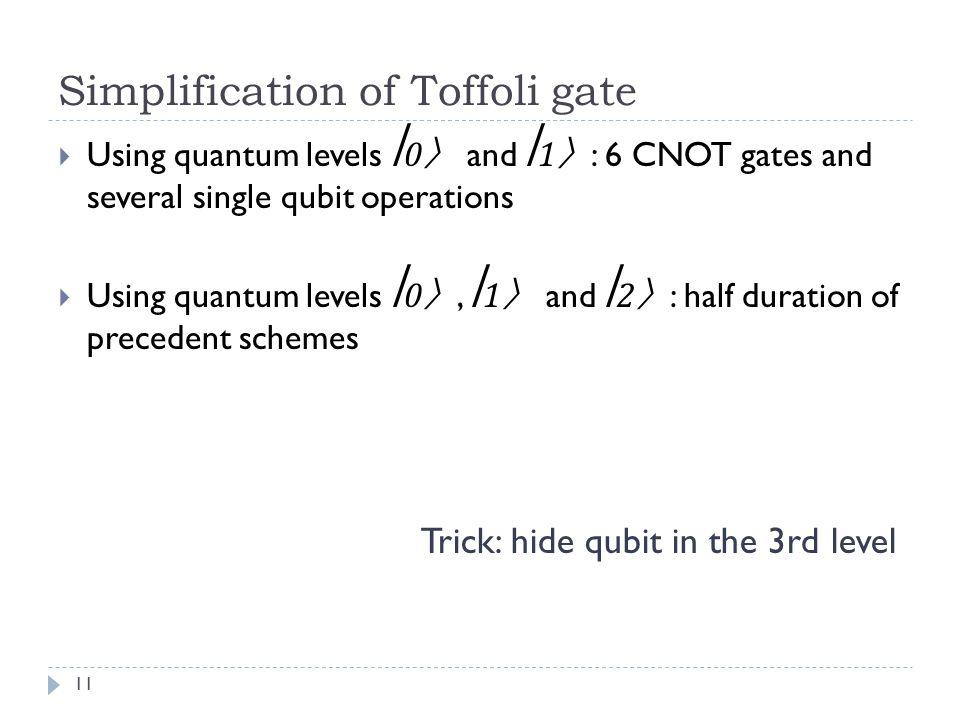 Simplification of Toffoli gate