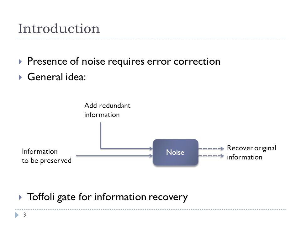 Introduction Presence of noise requires error correction General idea: