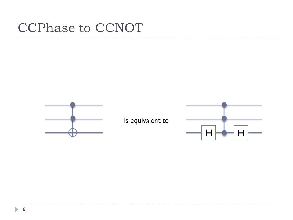 CCPhase to CCNOT H is equivalent to