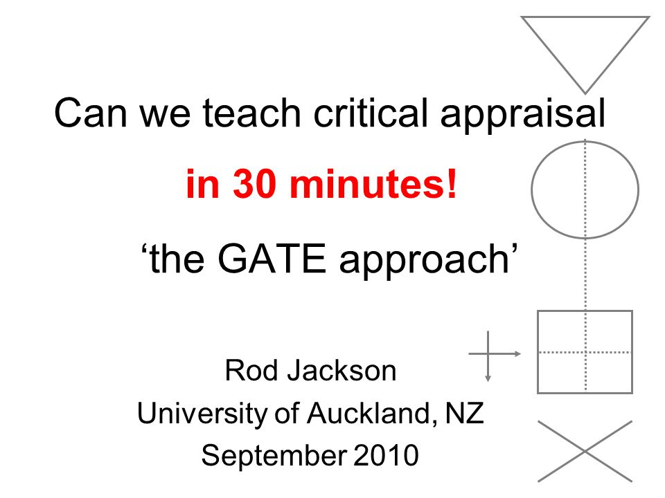 Can we teach critical appraisal 'the GATE approach'