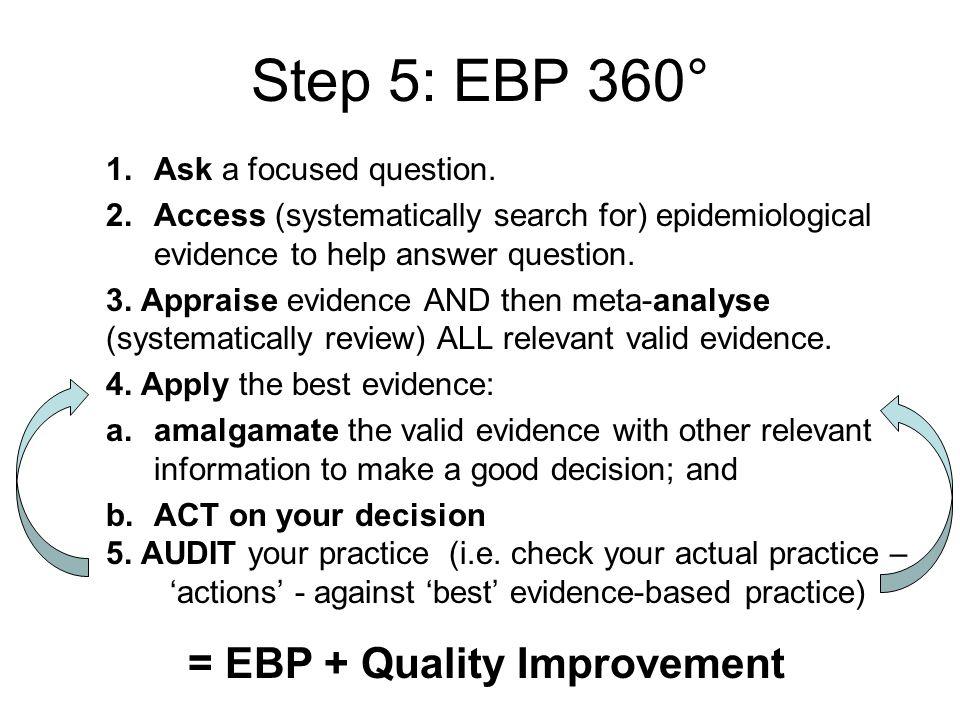 Step 5: EBP 360° = EBP + Quality Improvement Ask a focused question.