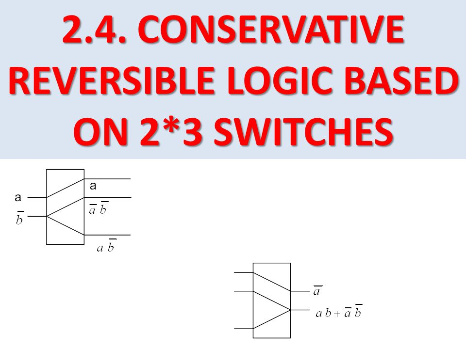 2.4. CONSERVATIVE REVERSIBLE LOGIC BASED ON 2*3 SWITCHES