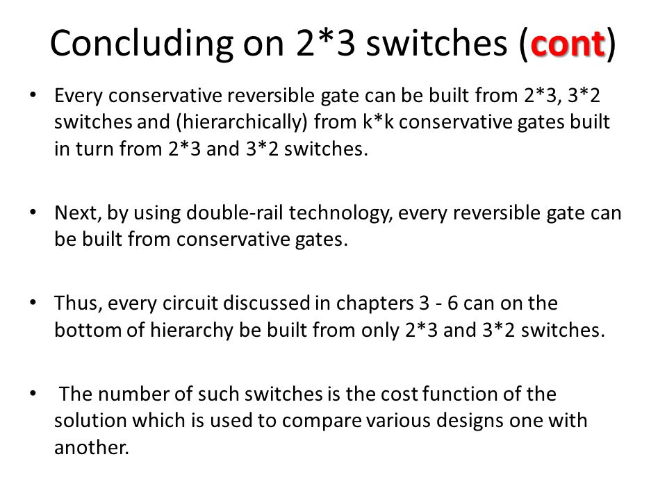 Concluding on 2*3 switches (cont)
