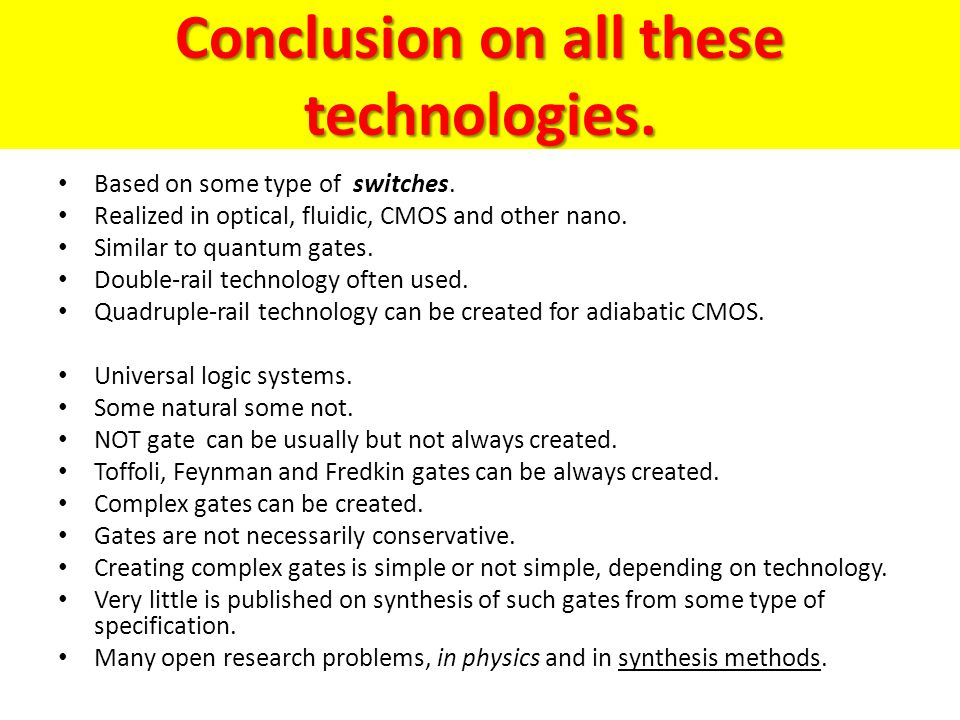 Conclusion on all these technologies.